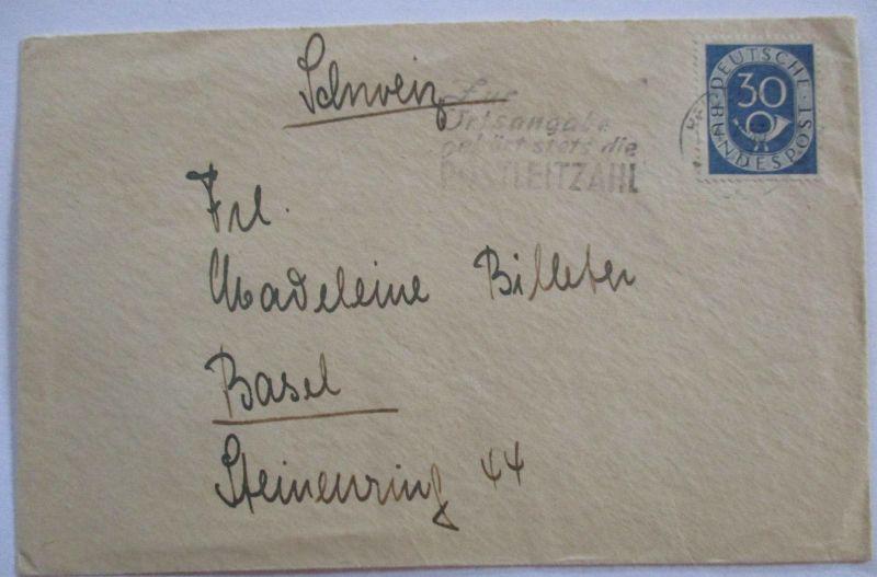 Bund, 30 Pfg. Posthorn EF Brief nach Basel (4580)