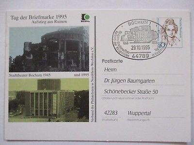Bund, Ganzsache Stadttheater Bochum 1945 und 1995, Sonderkarte (49747)