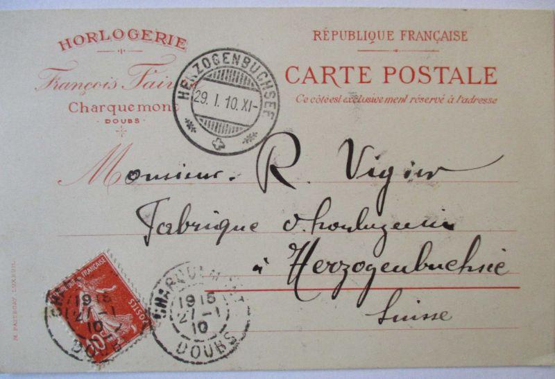 Uhren-Geschäft, Uhrmacher, Horlogerie Francois Faivre Charquemont 1910 (29885)