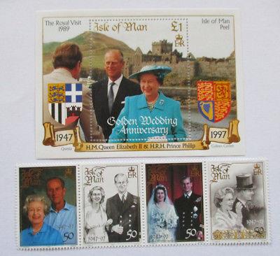 Isle of Man,Goldene Hochzeit 1997, Satz und Block postfrisch (1047)