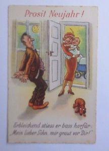 Neujahr, Männer, Frauen, Baby, Dackel  1930 ♥ (58318)