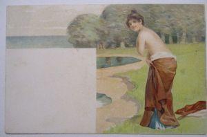 Meer, Strand, Baden, Frau, ca. 1900 (22733)