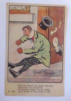 Neujahr,  Männer, Zylinder, Scherzkarte,     1908   ♥ (59163)
