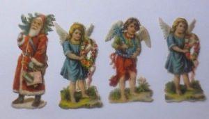 Oblaten, Engel, Weihnachtsmann,  6 cm x 3 cm 1900 ♥ (61182)