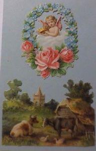 Oblaten, Engel, Landschaft, Kühe   8 cm x 6 cm, 7 cm x 5cm  Jahr 1900 ♥  (61048)