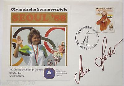 Olympia Seoul 1988, KK Gewehr, Silvia Sperber, Gold, orig. Unterschrift (30274)