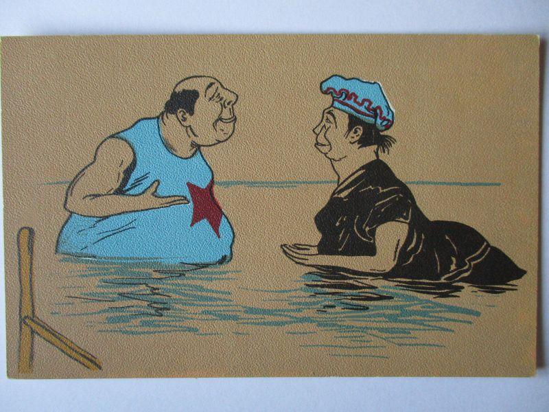 Meer, Strand, Baden, Mann und Frau, Scherzkarte ca. 1920 (37824)