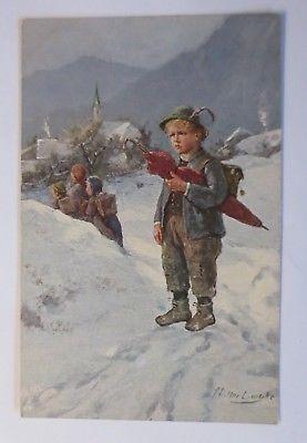 Kinder, Mode, Schule, Winter, Berge,  1912, Oilette, Müller L.♥ (39719)