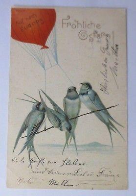 Ostern, Heißluftballon, Schwalben,    1901 ♥ (63738)