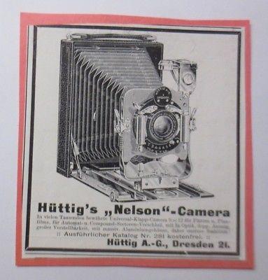 Werbung, Reklame, Kamera, 1914, Hüttig´s Nelson Camera Dresden 21 ♥ (64490)