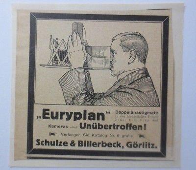 Werbung, Reklame, Kamera, 1914, Euryplan, Schulze & Billerbeck, Görlitz♥ (64488)