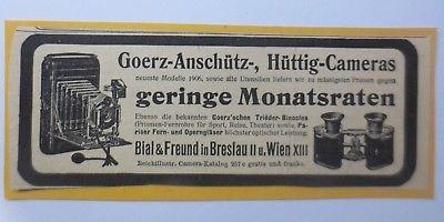 Werbung, Reklame, Kamera, 1914, Goerz-Anschütz-Hüttig, Bial & Freund♥ (64487)