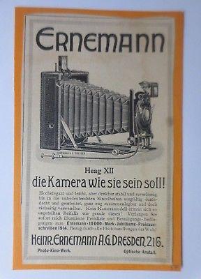 Werbung, Reklame, Kamera, 1914, Heinrich Ernemann Dresden, Heag XII ♥ (64486)
