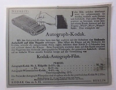Werbung, Reklame, Kamera, ca.1914, Autograph-Kodak Berlin ♥(64485)