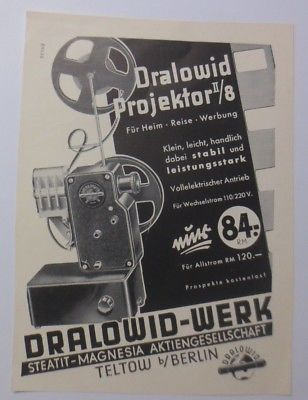 Werbung, Reklame, Kamera, ca.1929, Dralowid Projektor 2/8 Teltow Berlin ♥(64483)