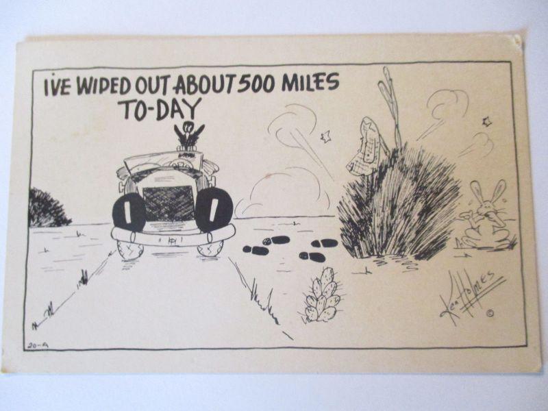 Scherzkarte, Auto, ...about 500 miles, 1948 (5921)