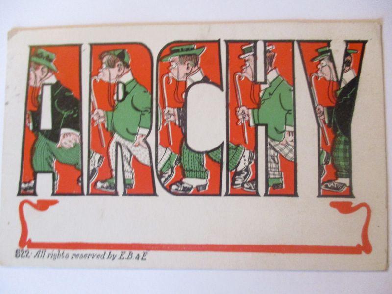 Scherzkarte, Männer, Stock, Archy, USA 1907 (40422)