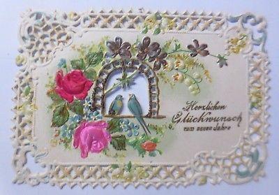 Neujahr, Blumen, Rosen, Schwalben,   1900, Einlegekarte ♥ (64627)
