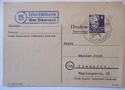 DDR, Landpoststempel Eckardtshausen über Eisenach 1950 (20048)