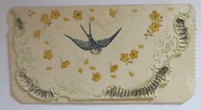 Verlobung, Schwalben, Blumen, Jugendstil,   1900, Klappkarte, Glitzer ♥ (64610)