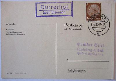 D.Reich, Landpoststempel Dürrerhof über Eisenach 1940 (49568)