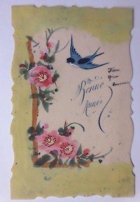 Kunststoffkarte Handgemalt, Schwalbe, Blumen 1910  ♥   (64397)