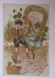 Neujahr, Kinder, Mode, Hufeisen, Kleeblatt, Katzen  1908, Prägekarte ♥ (53629)