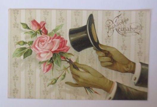 Neujahr, Rose, Zylinder  1907, Prägekarte ♥ (53627)