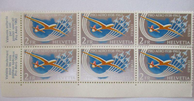 Schweiz, Pro Aero 1963, Sechserblock postfrisch (65204)