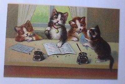 Katzen, Katzenbabys, Glöckchen, Schreiben, Brief,   1913, Prägekarte  ♥ (65191)