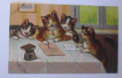 Katzen, Katzenbabys, Glöckchen, Schreiben, Brief,   1913, Prägekarte  ♥ (65190)