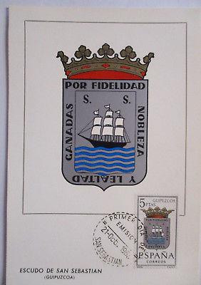 Spanien Maximumkarte  von 1963 Wappen San Sebastian (26577)