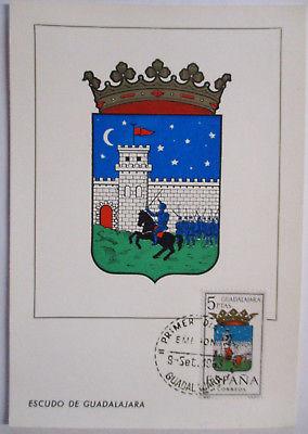 Spanien Maximumkarte  von 1963 Wappen Guadalajara (35351)