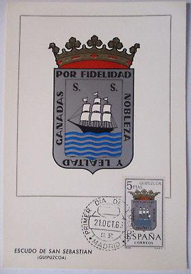 Spanien Maximumkarte  von 1963 Wappen San Sebastian (61683)