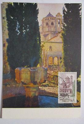 Spanien Maximumkarte  von 1963 Städte Gebäude Monasterio de Poblet (29031)