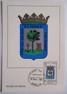 Spanien Maximumkarte  von 1963 Wappen Huelva (28366)