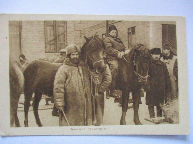 Pferde, Pferdehändler in Rußland, Marine Komp. Kriegshafen Libau 1916 (14910)