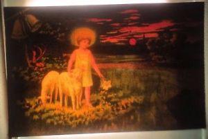Ostern, Kinder, Schafe, Lilie, 1899, Halt gegen das Licht, Meteor ♥ (62544)