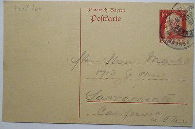 Bayern, Ganzsache 1911 von Garmisch nach Sacramento, USA (15196)