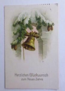 Neujahr, Glocken, Kirchturm, Tannenzweig  1922 ♥  (32053)
