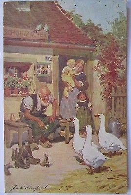Berufe, Schuhe, Schuster, Schuhmacher, Kinder und Gänse, 1913 (1230)