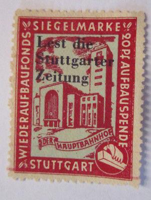 Wiederaufbau Stuttgart, Zeitung, ungebrauchte Spendenmarke (50497)