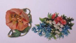 2.Oblaten , Kinder, Blumen, Metamorphose,   7,5 cm x 5 cm, Jahr 1900  ♥  (65964)