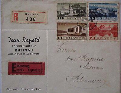 Schweiz, Nr.321-324 auf R-Eilbrief 1938 (23337)