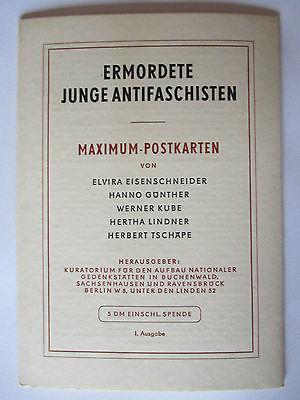 DDR, Mahn- und Gedenkstätten, Antifaschisten, 5 Maximumkarten 1961  (37041)