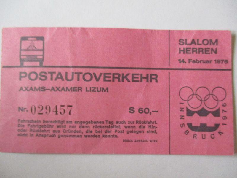Olympia Innsbruck 1976, Busfahrkarte Axams - Axamer Lizum (25967)