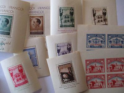 Spanien Bürgerkrieg Lokalausgaben, 10 verschiedene postfrische Blocks (57290)