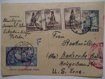 Polen, R-Ganzsache 1948 nach Karlsruhe US Zone, Zensur (52631)