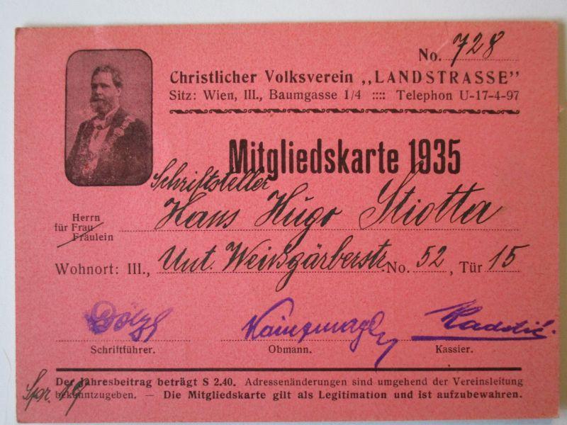 Österreich, Christlichsozialer Verein Landstrasse, Mitgliedskarte 1935 (29020)
