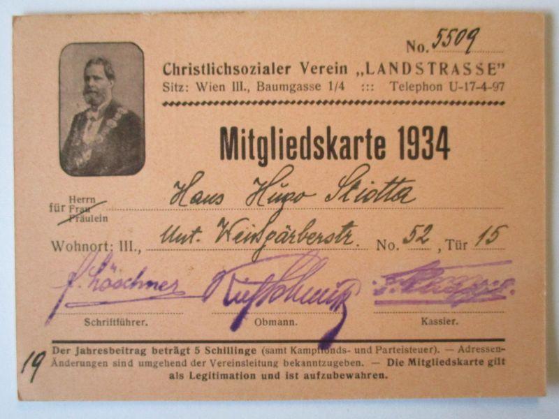 Österreich, Christlichsozialer Verein Landstrasse, Mitgliedskarte 1935 (29030)